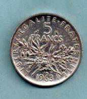 Année 1963. 5 Francs Argent. (pièce 001) - France