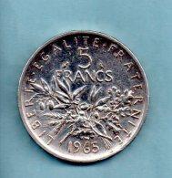 Année 1965. 5 Francs Argent. (pièce 003) - J. 5 Francs