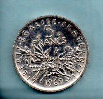 Année 1969. 5 Francs Argent. (pièce007) - J. 5 Francs