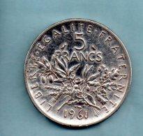 Année 1961. 5 Francs Argent. (pièce009) - J. 5 Francs