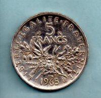 Année 1965. 5 Francs Argent. (pièce 011) - France