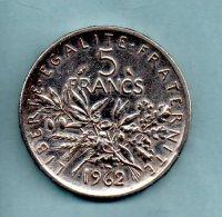 Année 1962. 5 Francs Argent. (pièce 013) - France
