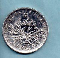 Année 1964. 5 Francs Argent. (pièce 015) - Francia