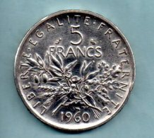 Année 1960. 5 Francs Argent. (pièce 021) - J. 5 Francs