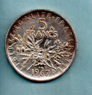 Année  1967. 5 Francs Argent. (pièce023) - J. 5 Francs