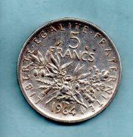 Année 1964. 5 Francs Argent. (pièce027) - Francia