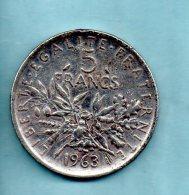 Année 1963. 5 Francs Argent. (pièce029) - J. 5 Francs