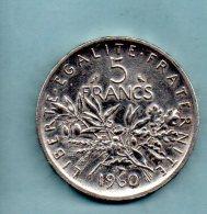 Année 1960. 5 Francs Argent. (pièce031) - J. 5 Francs
