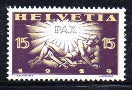 410/1500 - SVIZZERA 1919 ,  Unificato N. 172  ***  MNH  Pace - Nuovi