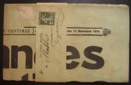 "N°278 Seul Sur Bande Journal + Journal ""les Landes Sportives"" Du 1er Novembre 1936 - Marcophilie (Lettres)"