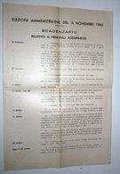 ELEZIONI AMMINISTRATIVE DEL 6 NOVEMBRE 1960 SCADENZARIO - Collections