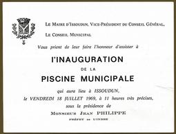 INAUGURATION DE LA PISCINE MUNICIPALE ISSOUDUN INDRE - Old Paper