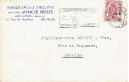 "711 Op PK Met Firmaperforatie (perfin) ""MF"" Van MYNCKE FRERES"" Met Stempel BRUSSEL 1947 - 1934-51"