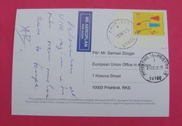 2015 KOSOVO, AIRMAIL Postcard Send From ZUR To PRISTINA, RARE. Stamp: CHILDREN's DAY - Kosovo