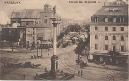 AK Warszawa Warschau Pomnik Kr. Zygmunta III Sigismundsäule Schloßplatz Straßenbahn Polska Polski Polen Poland Pologne - Poland