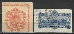 2 Ganzsachenausschnitte / Cuts From Postal Stationery - Hawaii