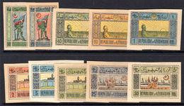 Azerbaijan 1919-20 Set Imperf, Mixed Papers, Unused Without Gum. - Azerbaïjan