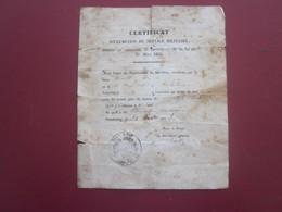 1843 Mairie Strasbourg Bas-Rhin-CERTIFICAT EXEMPTION SERVICE MILITAIRE PAR TIRAGE AU SORT-LIBÉRÉP/N°-DOCUMENT HISTORIQUE - Documents
