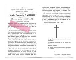 D 313. JOZEF-GASTON GROMMEN Echtg. L. Bessemans - °BRUSTEM 1896 / ORDINGEN 1965 - Images Religieuses