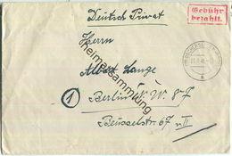 Brief Aus (19) Oschersleben Vom 21.08.1945 Mit 'Gebühr Bezahlt.' Stempel B5e In Rot - Zone Soviétique