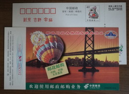 USA,San Francisco,Golden Gate Bridge,Hot Balloon,China 1999 Post Mail Order Business Advertising Pre-stamped Card - Bridges
