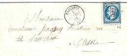 1er Janvier 1861- Lettre De BALLEROY ( Calvados ) Cad T15  Affr. N°14 Bord De Feuille  Oblit. P C 242 - Postmark Collection (Covers)