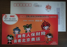Emblem,Five Fuwa Of 2008 Beijing Olympic Game,official Partner,CN 07 PICC Property And Casualty Insurance Company PSC - Summer 2008: Beijing