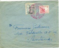 1947 SPAIN. Carta No Filatélica Circulada A Santander Con Matasello Conmemorativo Dulcinea Del Toboso. Don Quijote - 1931-Today: 2nd Rep - ... Juan Carlos I