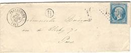 1863- Lettre De FERVACQUES ( Calvados ) Cad T15 Affr N°22 Oblit. G C  1500  + H Boite Rurale N I - Postmark Collection (Covers)