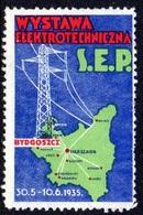 POLAND 1935 ELECTRICITY ELECTRO TECHNICAL EXHIBITION POSTER STAMP LABEL USED BYDGOSZCZ 30.5-10.6.1935 PYLON - 1919-1939 Republic