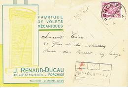 CP Publicitaire FORCHIES 1947 - J. RENAUD-DUCAU - Fabrique De Volets Mécaniques - Fontaine-l'Evêque
