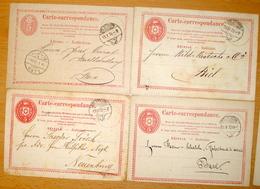 Schweiz Suisse 1870/73: 4 X Carte Correspondance Tübli Rot 5c Colombe Rouge O SOLOTHURN > Basel, Bern, Biel & Neuenburg - Interi Postali