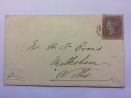 GB - VICTORIA 1d Red Imperf Cover 1853 - High Wycombe To Melksham Wiltshire - Good Marks To Rear - 3 Margin - Covers & Documents