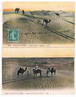 Lot De 2 CPA  : Scènes Et Types D'Afrique Du Nord - Dunes De Sable, Désert, Michara, Chameaux Ou Dromadaires - Algeria
