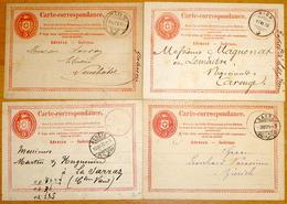 Schweiz Suisse 1870/73: 4 X Carte Correspondance Tübli Rot 5c Colombe Rouge Mit Stempel Von BASEL - GENÈVE - NYON - SION - Entiers Postaux