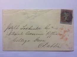 GB - VICTORIA 1d Red Imperf Cover 1852 - Lewisham S.O. In Blue To Dublin - Good Marks To Rear - 1840-1901 (Victoria)