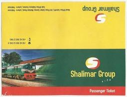 PAKISTAN UESED PRIVATE RAILWAY  RAIL PASSENGER TICKET CARD - Chemins De Fer