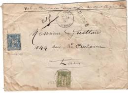Lettre Sans Corres, MOULX Pour Paris Lettre Chargé 1897 - 1877-1920: Période Semi Moderne