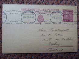 Schweden Sweden Ganzsache Stationery  Doppel-GS-Karte 15/15 O 1932 - Postal Stationery