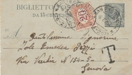 INTERO POSTALE 15 CENT.  1920 CON SEGNATASSE CENT.20 TIMPRO SAN PIER D'ARENA (Z2016 - 1900-44 Victor Emmanuel III.