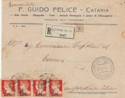 RACCOMANDATA 1945 CON 4X1,75 SS P.M. TIMBRO CAMPO ROTONDO ETNEO-CATANIA (Z2132 - Poste Militaire (PM)