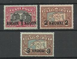 Estland Estonia 1930 Michel 87 - 89 * - Estland