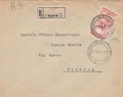 RACCOMANDATA 1953 CON 80 L. LEONARDO-TIMBRO FIRENZE VIA DEL CASTELLACCIO (Z2149 - 6. 1946-.. Repubblica