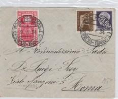 LETTERA 1934 CON 5 CENT.+1 LIRA +20 CENT ANNOSANTO -TIMBRI ROMA LOTTERIA (Z2172 - Marcophilie