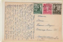 CARTOLINA 1939 CON 20+25+30 CENT PROCLAM. IMPERO TIMBRO ROMA HOTEL DE LA VILLE (Z2189 - 1900-44 Vittorio Emanuele III