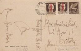 CARTOLINA REPUBBLICA SOCIALE 1945 CON 2X30 SS (TIRATURA ROMA?) +50 CENT PA-TIVEGNA LA SPEZIA (Z2198 - 4. 1944-45 Repubblica Sociale