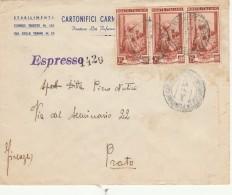 ESPRESSO 1953 CON 3X25 ITALIA AL LAVORO -TIMBRO AMBULANTE NAPOLI ROMA-PRATO FIRENZE (Z2201 - 6. 1946-.. Repubblica