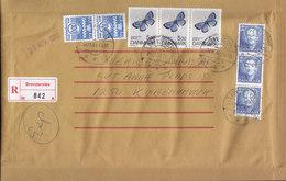 Denmark Registered Einschreiben Label BRØNDERSLEV 1993 Cover 2x 3-Stripe (Cz. Slania) & Butterfly Schmetterling Papillon - Dänemark
