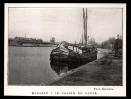 1911  --  BELGIQUE  HASSELT  LE BASSIN DU CANAL PENICHE AMARREE  3P858 - Old Paper