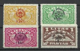 LITAUEN Lithuania 1924 Michel 237 - 240 * Air Mail - Lituania